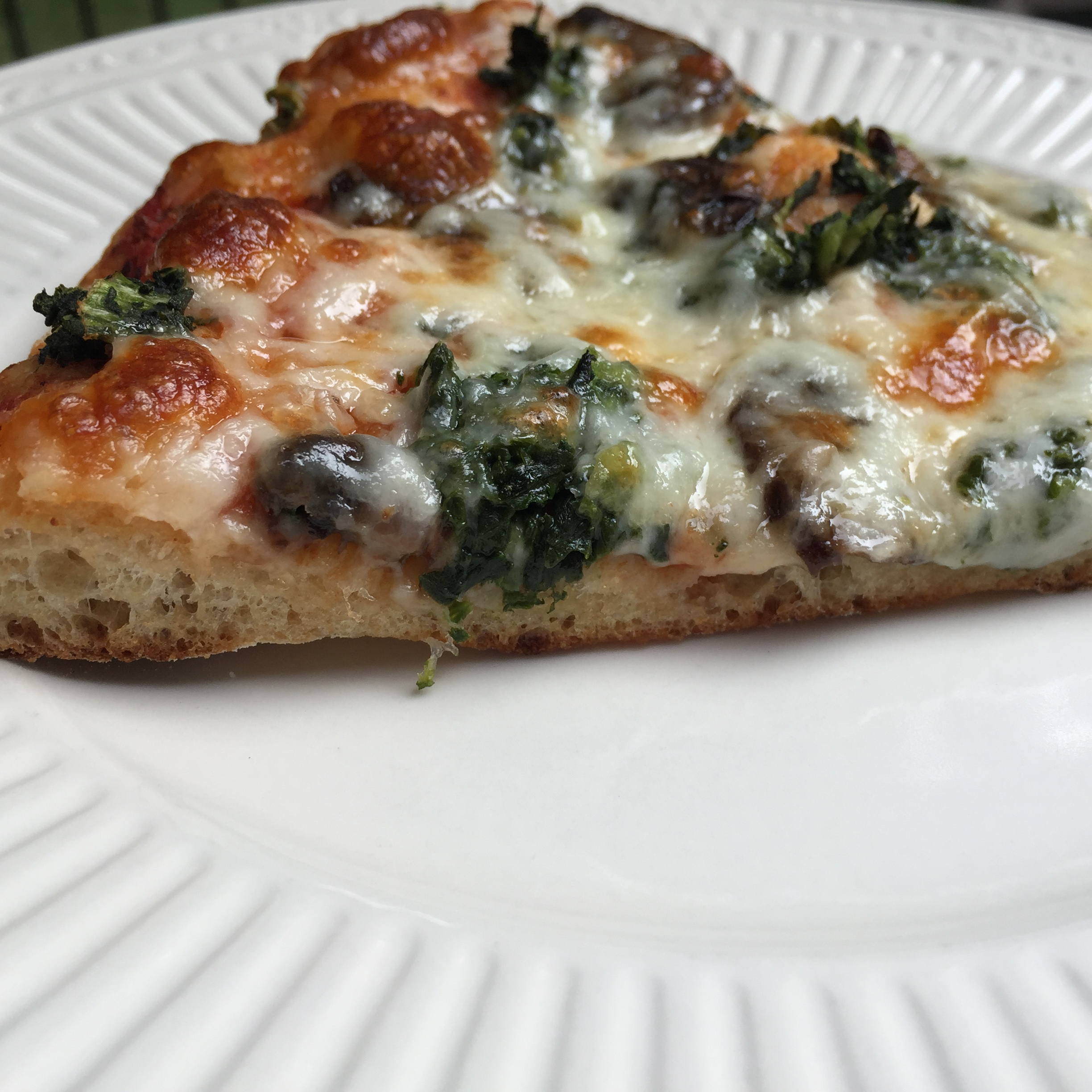 menu plan results homemade whole wheat pizza slice with spinach and mushrooms